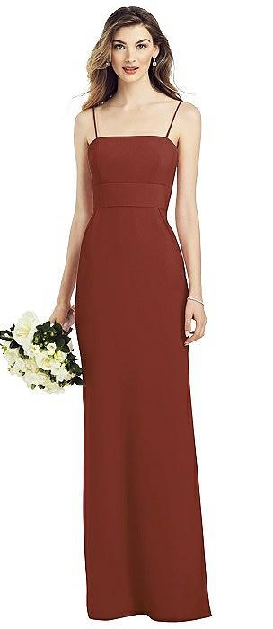 Spaghetti Strap A-line Crepe Dress with Pockets