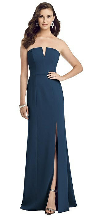 Strapless Notch Crepe Gown with Front Slit