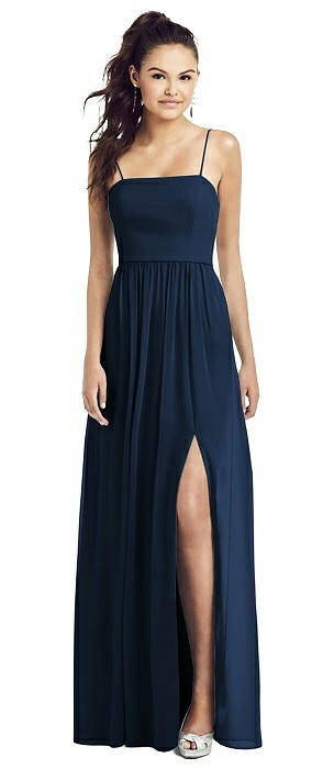 Slim Spaghetti Strap Chiffon Dress with Front Slit