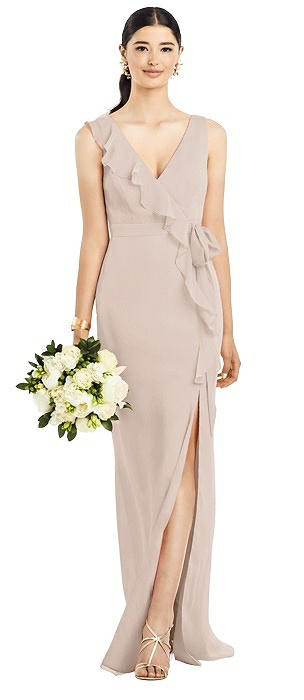 Sleeveless Ruffle Faux Wrap Chiffon Gown