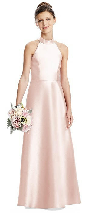 Halter Open-back Satin Juniors Dress with Pockets