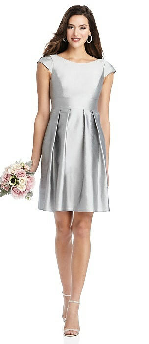 Cap Sleeve Pleated Skirt Cocktail Dress with Pockets