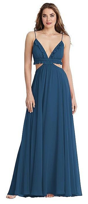 Ruffled Chiffon Cutout Maxi Dress - Jessie