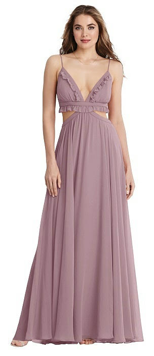 Ruffled Chiffon Cutout Maxi Dress - Jessie