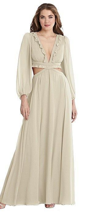 Bishop Sleeve Ruffled Chiffon Cutout Maxi Dress - Harlow
