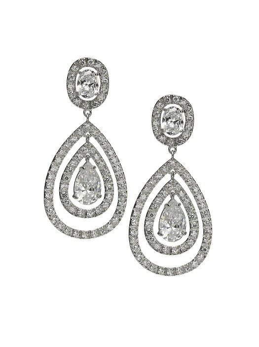 CZ Nested Drop Earrings