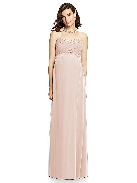Draped Bodice Strapless Maternity Dress On Sale
