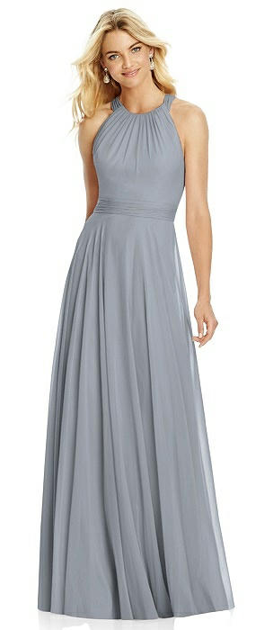 Cross Strap Open-Back Halter Maxi Dress