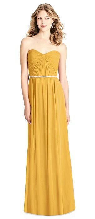 Strapless Pleated Bodice Dress with Jeweled Belt