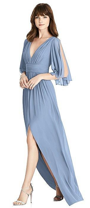 Split Sleeve Backless Chiffon Maxi Dress
