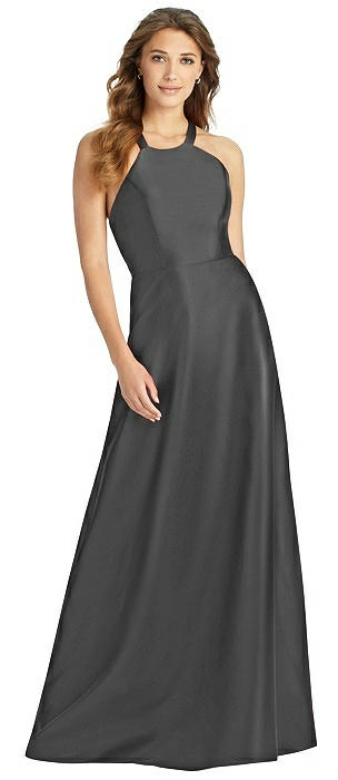 Halter Lace-Up A-Line Maxi Dress