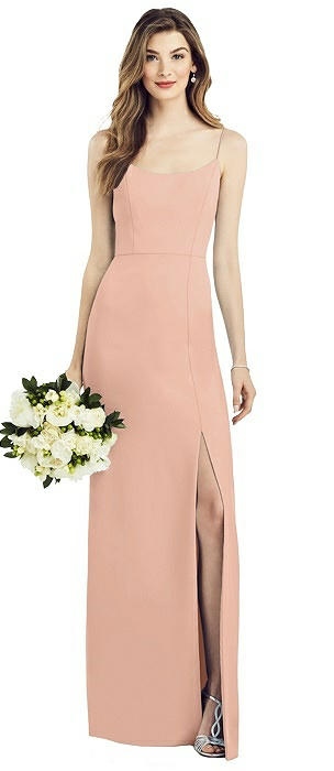 Spaghetti Strap V-Back Crepe Gown with Front Slit