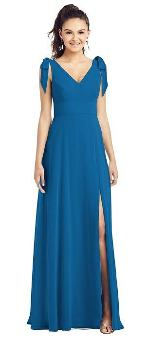 Bow-Shoulder V-Back Chiffon Gown with Front Slit