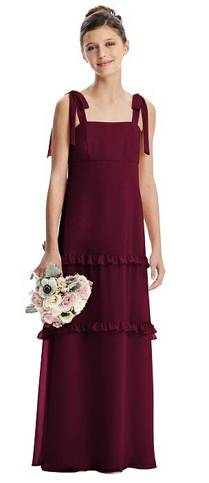 Bow Strap Juniors Dress with Tiered Ruffles