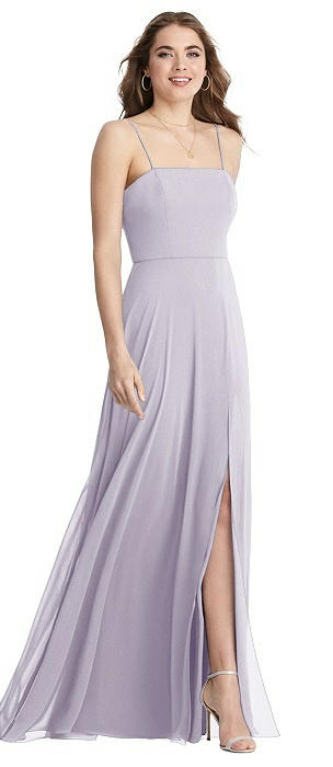 Square Neck Chiffon Maxi Dress with Front Slit - Elliott