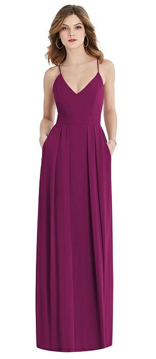 Pleated Skirt Maxi Dress with Pockets