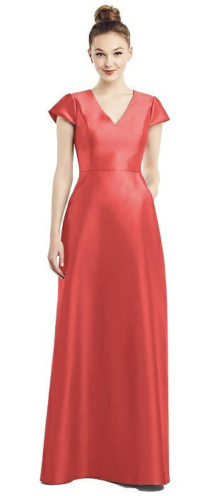 Cap Sleeve V-Neck Satin Gown with Pockets