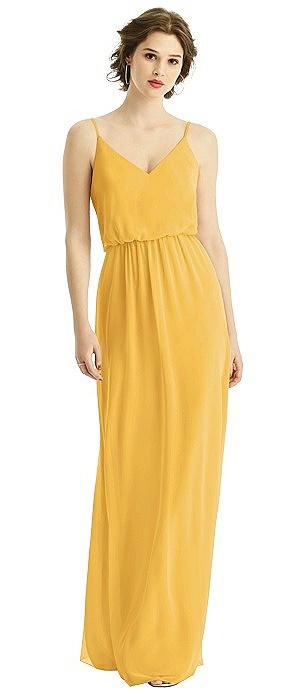 Blouson Bodice Chiffon Gown with Spaghetti Straps