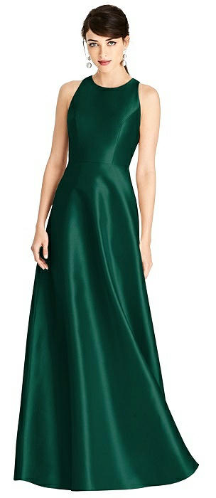 Sleeveless Open-Back Satin A-Line Dress