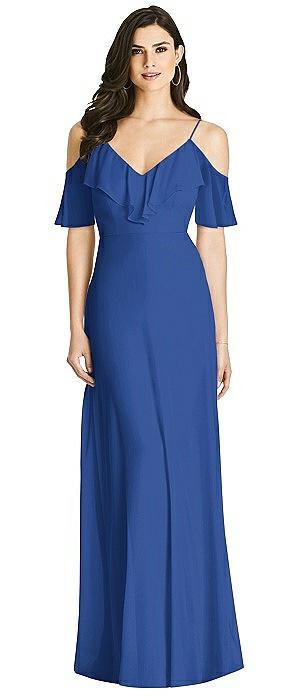 Ruffled Cold-Shoulder Chiffon Maxi Dress