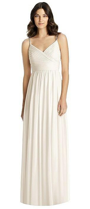Jeweled Strap Shirred Wrap Maxi Dress