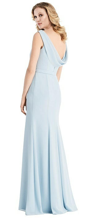 Sleeveless Cowl-Back Trumpet Gown