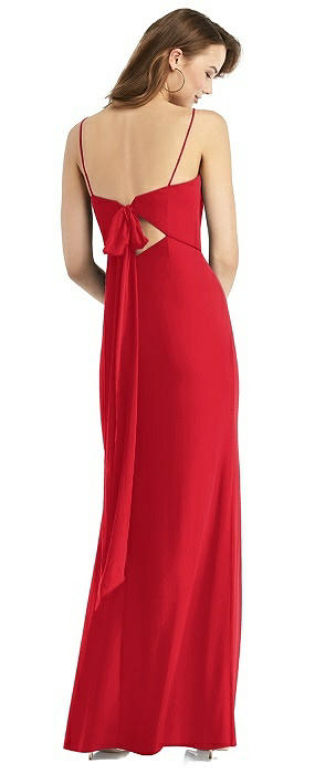 Tie-Back Cutout Trumpet Gown with Front Slit
