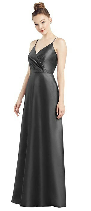 Draped Faux Wrap Maxi Dress with Pockets