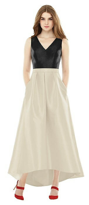 Sleeveless Pleated Skirt High Low Dress with Pockets