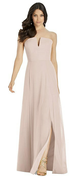 Strapless Notch Chiffon Maxi Dress