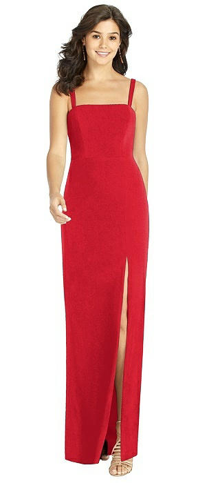 Flat Strap Stretch Mermaid Dress with Front Slit
