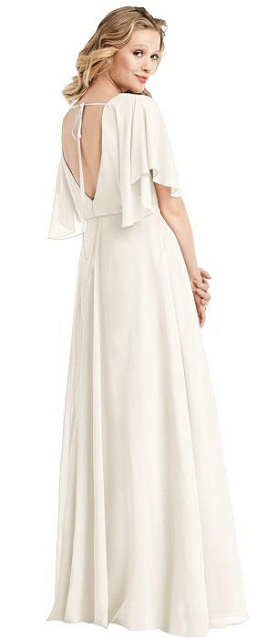 Flutter Sleeve Open-Back Maxi Dress