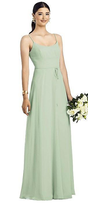 Spaghetti Strap Chiffon Dress with Jeweled Skinny Sash