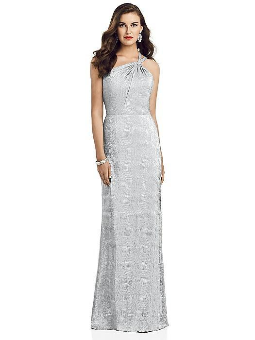One-Shoulder Twist Metallic Trumpet Gown