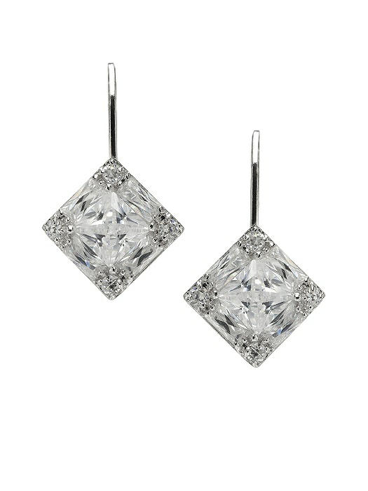Faceted Princess Cut CZ Drop Earrings