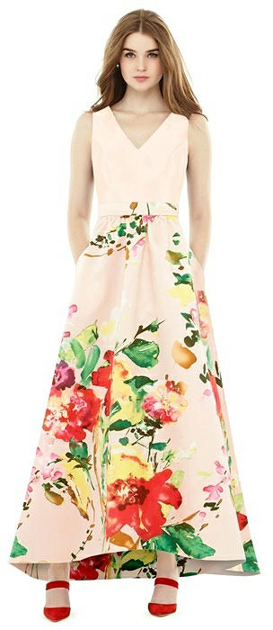 Sleeveless Floral Skirt High Low Dress with Pockets