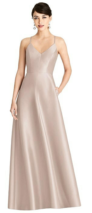 V-Neck Full Skirt Satin Maxi Dress