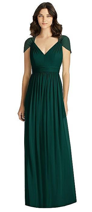 Cap Sleeve Cutout Illusion-Back Dress