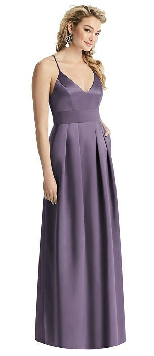 V-Neck Pleated Satin Dress with Pockets