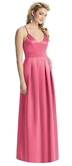 V-Neck Pleated Satin Dress with Pockets