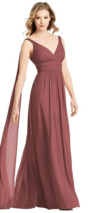 V-Neck Chiffon Gown with Streamer at Back Strap