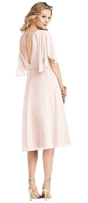 Flutter Sleeve Open-Back Cocktail Dress