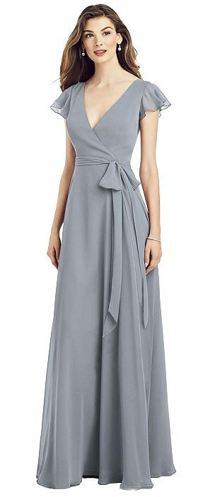 Flutter Sleeve Faux Wrap Chiffon Dress