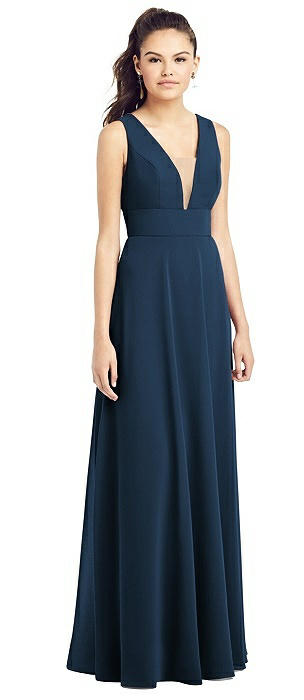 Adjustable Strap Illusion Neck Chiffon Gown