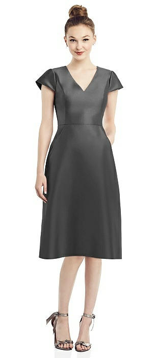 Cap Sleeve V-Neck Satin Midi Dress with Pockets