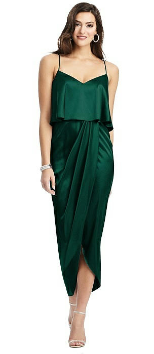 Popover Bodice Midi Dress with Draped Tulip Skirt