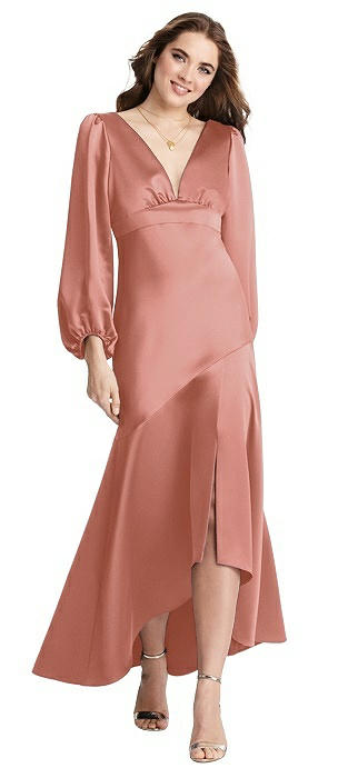 Puff Sleeve Asymmetrical Drop Waist High-Low Slip Dress - Teagan