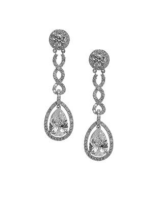 Pear Shaped CZ Estate Earrings
