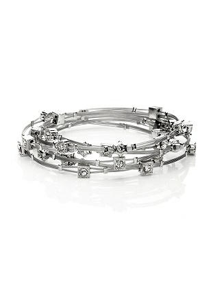 Crystal & Silver Stack Bracelet Set - 6 Pieces