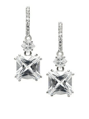 Cushion Cut Drop Earrings